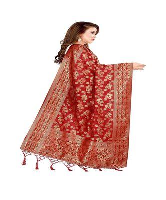 Red Color jacquard Banarasi silk Dupatta