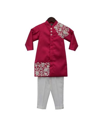 Pink Embroidery Ajkan with Pant
