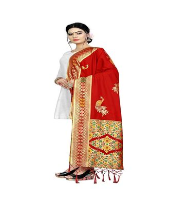 Red Color jacquard Banarasi silk Dupatta