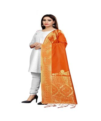 orange Color jacquard Banarasi silk Dupatta