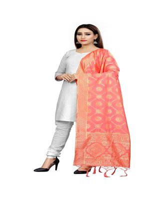 Peach Color jacquard Banarasi silk Dupatta