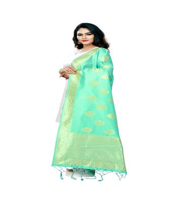 Green Color jacquard Banarasi silk Dupatta
