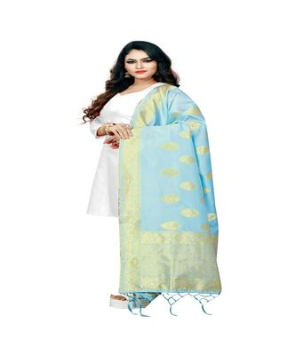 Light Blur Color jacquard Banarasi silk Dupatta