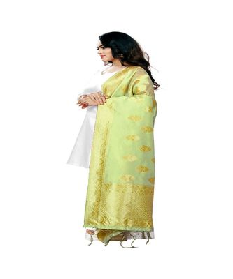 light Yellow Color jacquard Banarasi silk Dupatta
