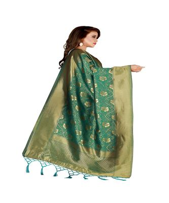 Green Color jacquard Banarasi silk Dupatta