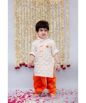 Printed Kurta with Orange Dhoti