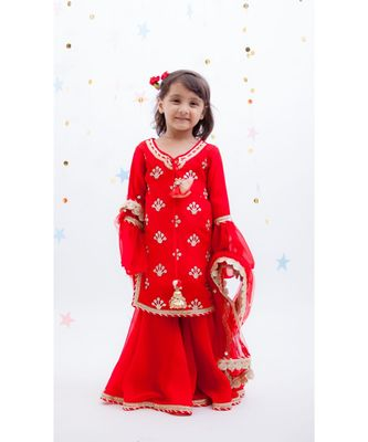 Red Embroidery Kurti with Red Sharara
