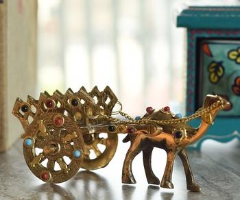 Gemstone Studded Pure Brass Camel Cart Handicraft