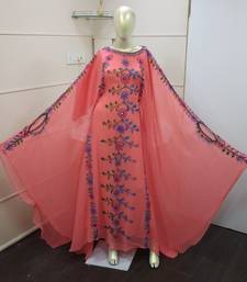 Peach Zari Work Chiffon Polyester Islamic Party Wear Festive  Kaftan Farasha