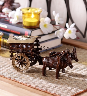 Brass Antique Finish Village Bullock Cart