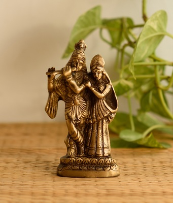 Decorative Radha Krishna Pair Brass Figurine