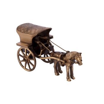 Brass Antique Finish Horse Carriage Showpiece