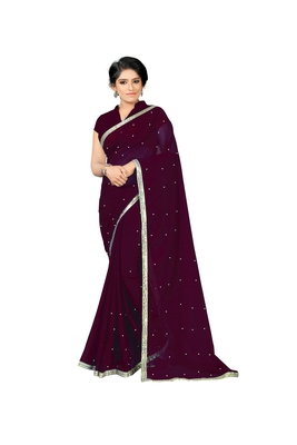 Wine plain georgette saree with blouse