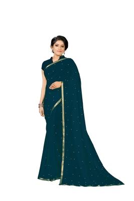 Sky-blue plain georgette saree with blouse