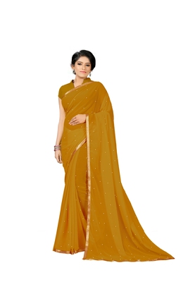 Mustard Plain Georgette Saree With Blouse