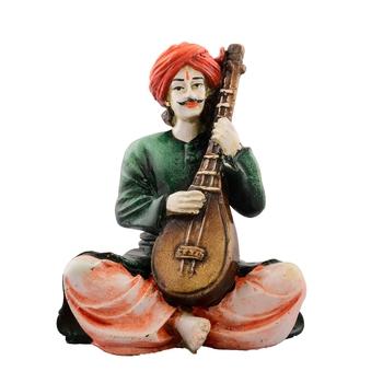 Polyresin Rajasthani playing Sitar musical instrument