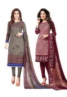 multicolor printed synthetic unstitched salwar Set 2 with dupatta