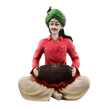 Polyresin Rajasthani Lady Playing Dholak Showpiece