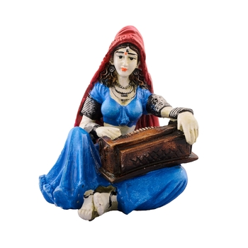 Polyresin Rajasthani Lady Playing Harmonium Showpiece