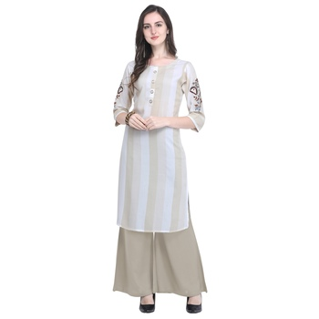 cream Heavy Rayon Embroidered Women's Kurta with 3/4 Sleeve