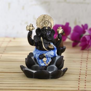 Lord Blue Ganesha Smoke Backflow Cone Incense Holder Decorative Showpiece