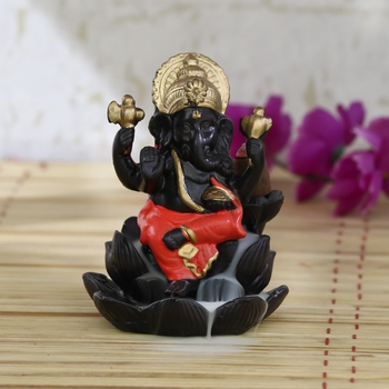 Lord Orange Ganesha Smoke Backflow Cone Incense Holder Decorative Showpiece