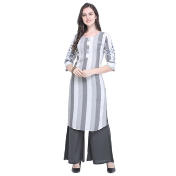 grey Heavy Rayon Embroidered Women's Kurta with 3/4 Sleeve
