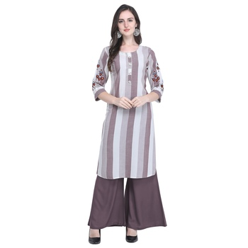 brown Heavy Rayon Embroidered Women   s Kurta with 3/4 Sleeve