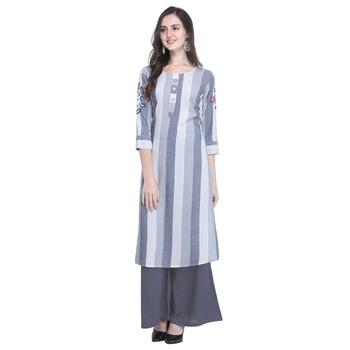 light-blue Heavy Rayon Embroidered Women's Kurta with 3/4 Sleeve