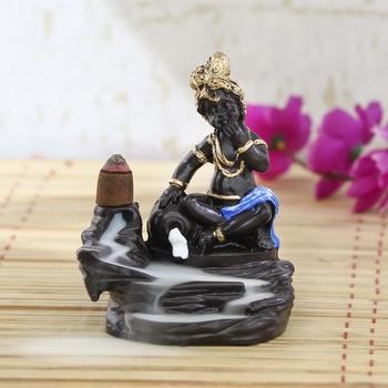 Lord Blue Krishna Smoke Backflow Cone Incense Holder Decorative Showpiece