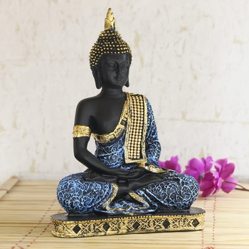 Blue Meditating Buddha Decorative Showpiece - 24 cm