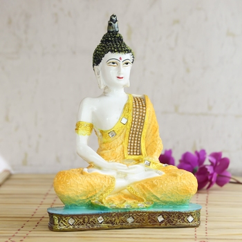 Orange Buddha Decorative Showpiece - 24 cm