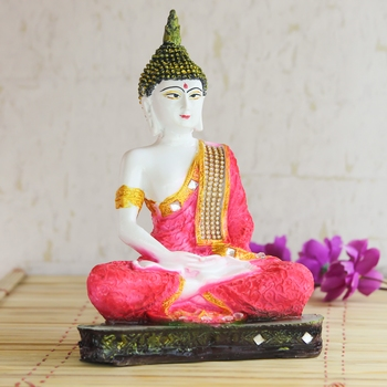 Red Buddha Decorative Showpiece - 24 cm