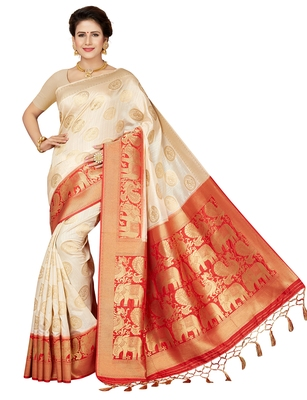 Off White printed art silk saree with blouse