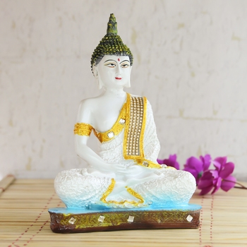White Buddha Decorative Showpiece - 24 cm