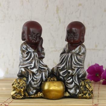 Set of 2 Brown Monks Polyresin Tealight Holder