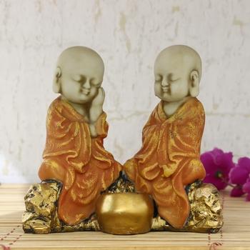 Set of 2 Orange Monks Polyresin Tealight Holder
