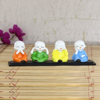 Set of 4 Multi color Monks Polyresin Tealight Holder