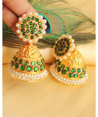 Beautiful Green Pearl Designer Jhumka