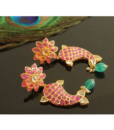 Gorgeous Gold Tone Real Uncut Polki Fish Earrings Jhumka