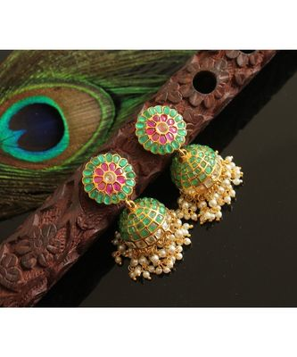 Gorgeous Gold Tone Real Uncut Polki Peacock Jhumka