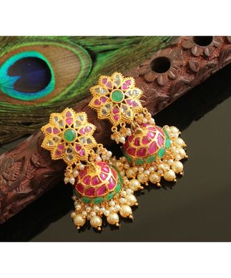 Gorgeous Gold Tone Real Uncut Polki Flower Jhumka