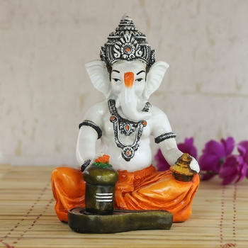 Lord Ganesha Worshipping Lord Shiv Pooja Decorative Spiritual showpiece