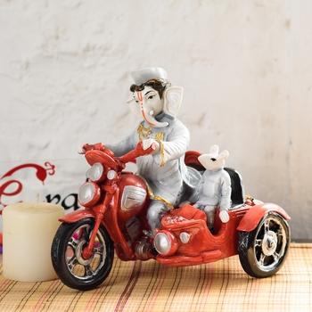 Hindu Lord Ganesha In Scooter Statue Idol Figurine Home Decor