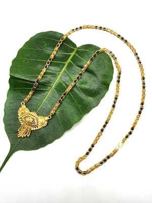 Women's Pride Mangalsutra Traditional Golden Antique Pendant Mangalsutra Black Beads Single Line Layer Long Necklace