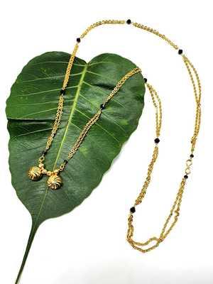 Women's Pride Mangalsutra Golden 2 Vati Tanmaniya Pendant Black Bead Single Line Layer Long Chain Mangalsutra Necklace