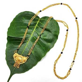 Women's Pride Mangalsutra Alloy Golden Pendant Black Beads Double Line Layer Long Chain Mangalsutra Necklace Jewellery