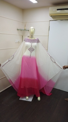 Rani Shaded Zari Work Chiffon Polyester Islamic Party Wear Festive Kaftan Farasha
