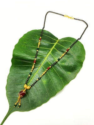 Women's Pride Mangalsutra Gold Plated Red Stone Pendant Latkan Multicolor Black Beads Single Line Layer Short Necklace