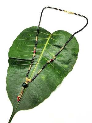 Women's Pride Mangalsutra Gold Plated Green Stone Pendant Latkan Multicolor Black Beads Single Line Layer Short Necklace